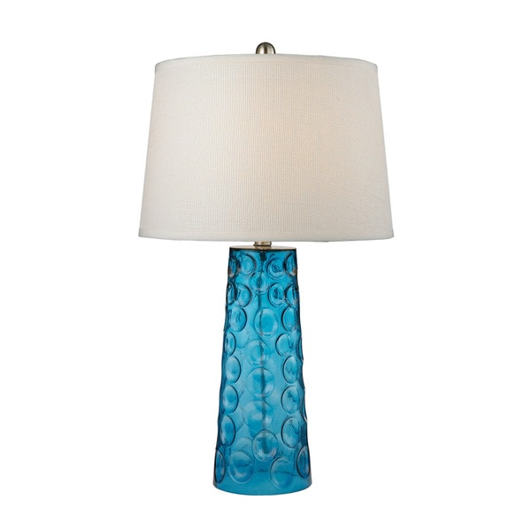 Dimond Hammered Glass Blue Pure White Linen Shade Table Lamp