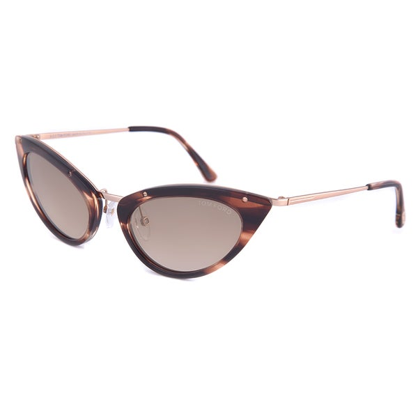 Tom Ford TF349 47G Grace Cateye Sunglasses, Havana Frame and Brown Lens