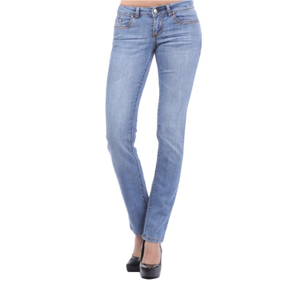 Tabeez Woman's Straight-fit Embellished Light Denim Jeans