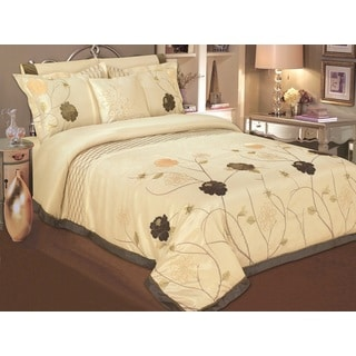 Egyptian Cotton Butter Scotch Floral Queen 7-piece Duvet Cover Set