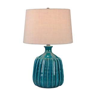 Dimond Ribbed Blues Ceramic Lamp