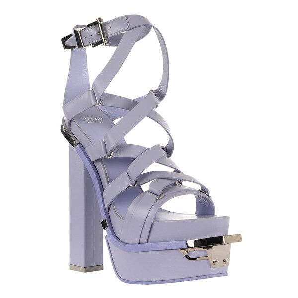 Versace Women's Leather Purple Platform Sandals