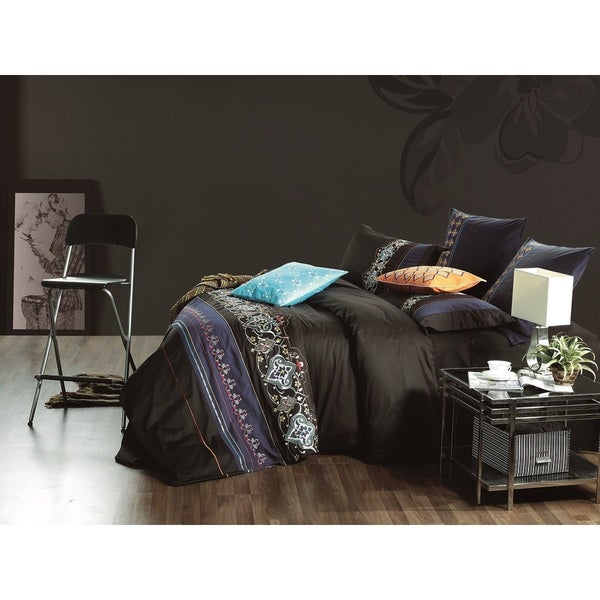 Egyptian Cotton Black Safari Queen 7-piece Duvet Cover Set (As Is Item)