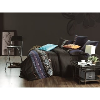 Egyptian Cotton Black Safari Queen 7-piece Duvet Cover Set