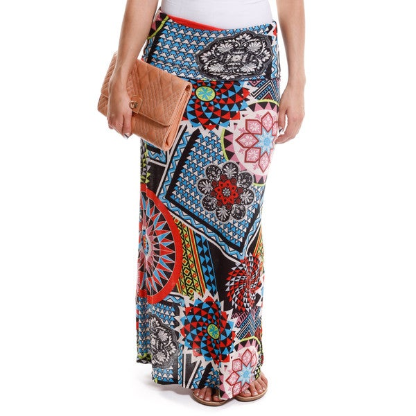Hadari Women's Abstract Print Foldover Maxi Skirt