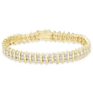 "Finesque Gold Overlay 1ct TDW Diamond ""S"" Link Bracelet"
