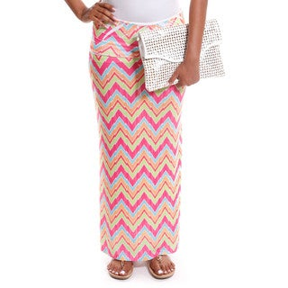 Hadari Women's Contemporary Chevron Print Foldover Maxi Skirt