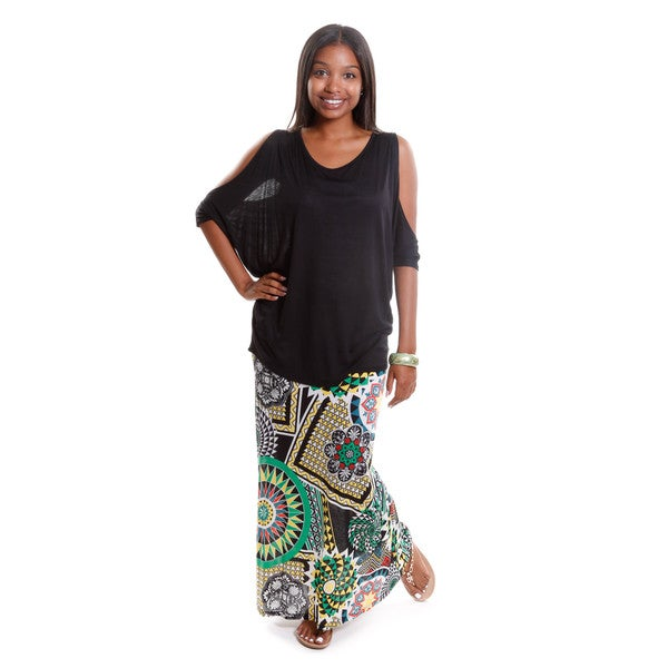 Hadari Women's Dolman Top with Abstract Print Maxi Skirt Outfit ( set of 2)