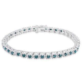 Finesque Sterling Silver 3 4/5ct TDW Blue Diamond Tennis Bracelet (I2-I3)