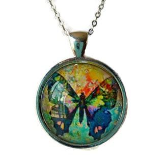Atkinson Creations Colorful Rainbow Butterfly Glass Dome Pendant Necklace
