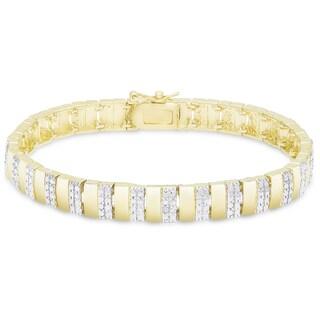 Finesque Sterling Silver Diamond Accent Stripe Bracelet (I-J, I2-I3)