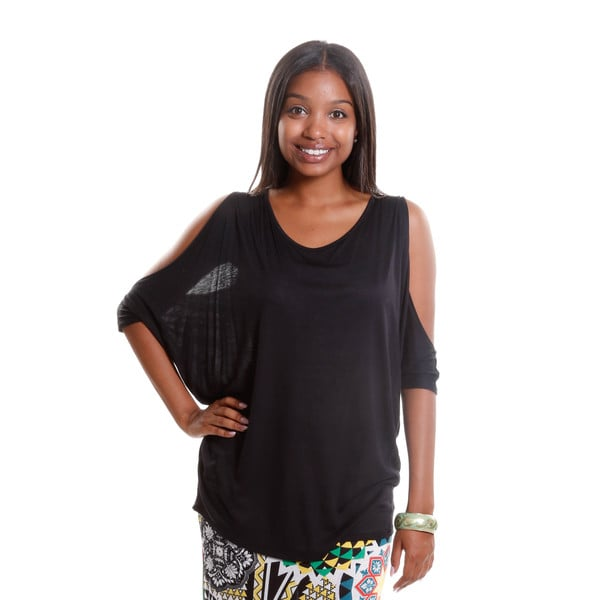 Hadari Women's Dolman Top with Cutaway Sleeves