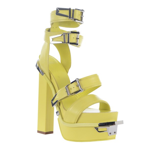 Versace Women's Leather Green Buckle Platform Sandals