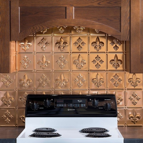 Fasade Fleur de Lis Polished Copper 18-square Foot Backsplash Kit 15739266