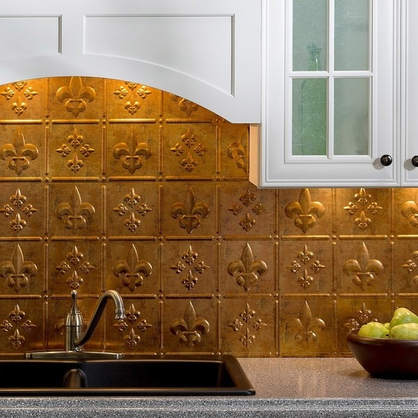 Fasade Fleur de Lis Muted Gold 18-square Foot Backsplash Kit 15739272