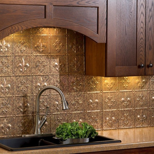 Fasade Fleur de Lis Cracked Copper Backsplash Kit 15739275