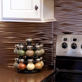 Fasade Waves Brushed Nickel 18-square Foot Backsplash Kit