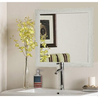 American Made Rayne Antique White Washed Square Wall Mirror