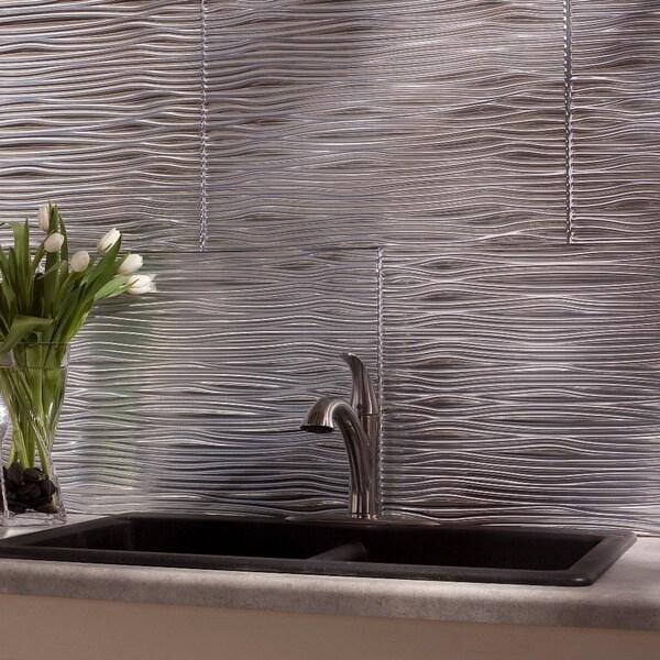 Fasade Waves Brushed Aluminum 18-square Foot Backsplash Kit 15739344
