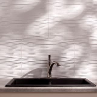 Fasade Waves Gloss White 18-square Foot Backsplash Kit