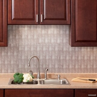 Fasade Square Crosshatch Silver 18-square Foot Backsplash Kit
