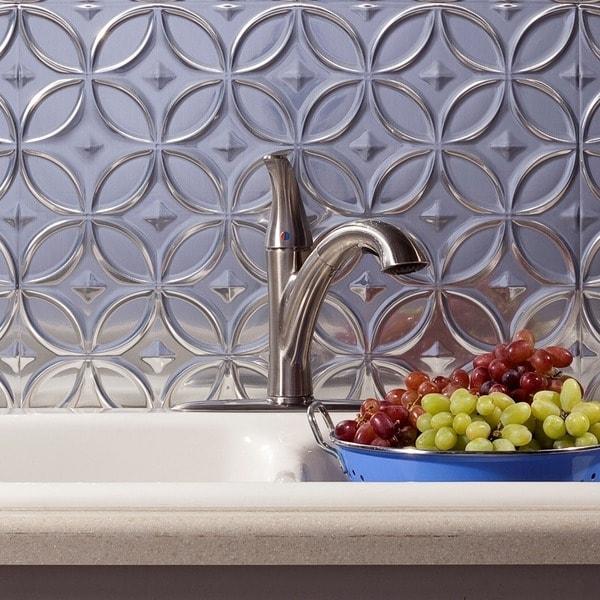 Fasade Rings Brushed Aluminum 18-square Foot Backsplash Kit 15739513