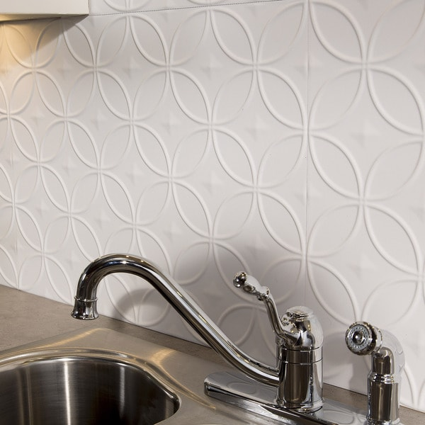Fasade Rings Matte White 18 sq. ft. Backsplash Kit 15739516