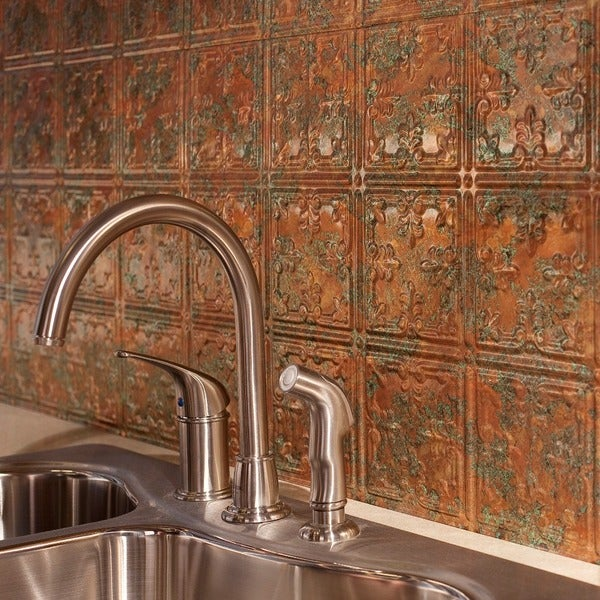 Fasade Traditional Style #10 Copper Fantasy 18-square Foot Backsplash Kit 15739559