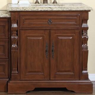 Silkroad Exclusive 55.5-inch Venetian Gold Granite Stone Top Bathroom Single Sink Modular Vanity