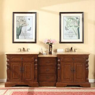 Silkroad Exclusive 90-inch Travertine Stone Top Bathroom Double Sink Modular Vanity