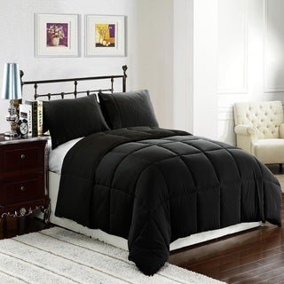 Ultra Soft and Cozy Black Hypoallergenic Alternative Down 3-piece Comforter/ Duvet Insert Set