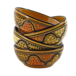 Le Souk Ceramique Set of 4 Honey Design Deep Bowls (Tunisia)