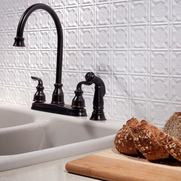 Fasade Traditional Style #6 Matte White 18-square Foot Backsplash Kit 15739706
