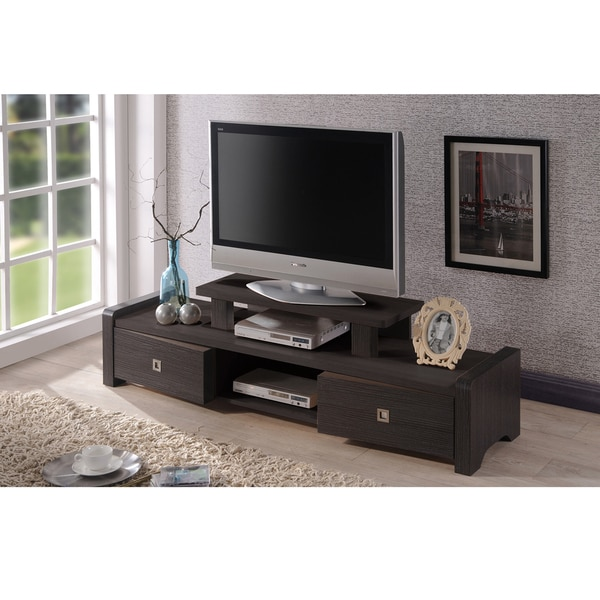 madeline 59 inch modern and contemporary dark brown entertainment center tv stand with two. Black Bedroom Furniture Sets. Home Design Ideas