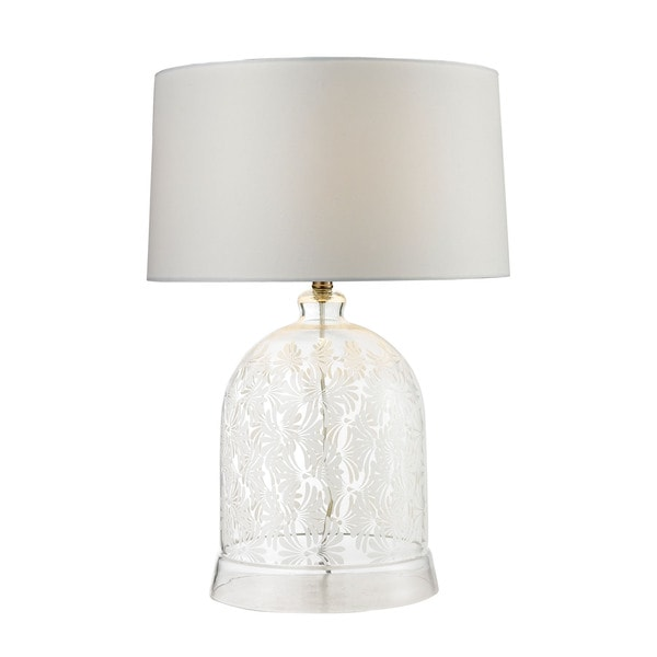 Dimond Landscape Painted Bell Glass Clear White Table Lamp