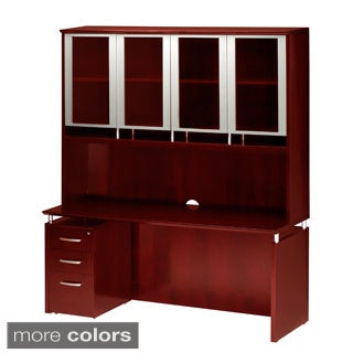 Mayline Napoli Series Veneer Hutch and Credenza with Box/ File Pedestal