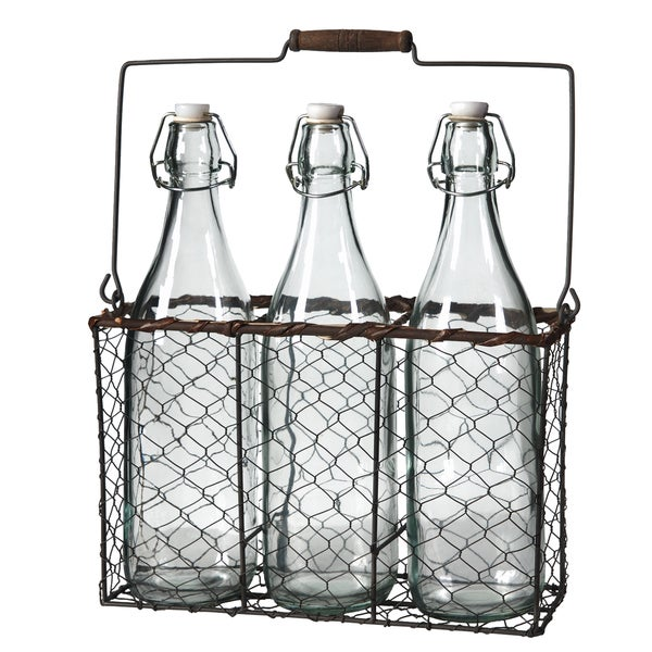 Clear Bottles in Wire Basket (Set of 2)