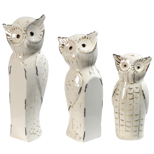 Beige Owl Family Statue (Set of 3)