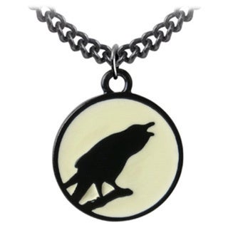 English Pewter with Enamel Caw At The Moon Necklace