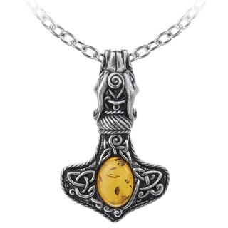 English Pewter with Amber Amber Dragon Thorhammer Necklace