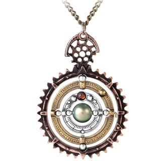 Tri-tone English Pewter with Austrian Crystal Pearl Ordium Coelestium Mechanicum Necklace