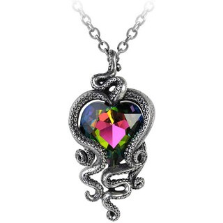 English Pewter with Crystals Heart of Cthulhu Necklace