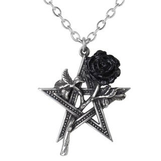 English Pewter with Blackened Pewter Rose Ruah Vered Necklace
