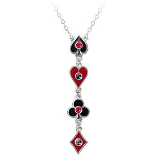 English Pewter with Enamel and Crystalss Aces Up Necklace
