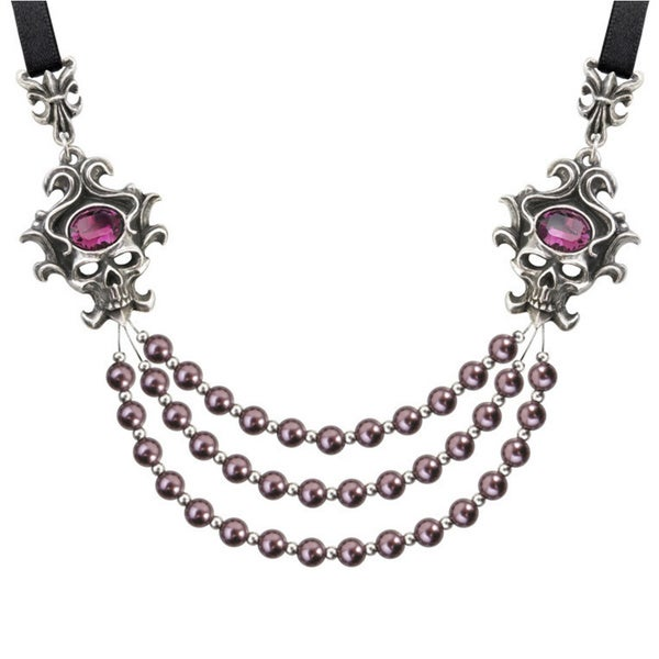 English Pewter Neckalace with Swarovski, Crystals, Pearls and Satin Ribbon The Palatine Pearls of The Underworld Necklace