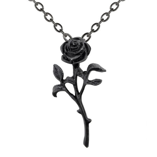 Blackened English Pewter The Romance of The Black Rose Necklace
