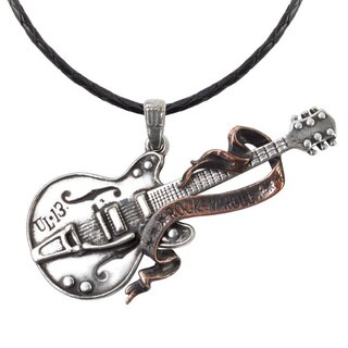 Two-tone English Pewter Steel Guitar Necklace