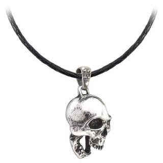 Genuine Leather with English Pewter Skull Pendant Necklace