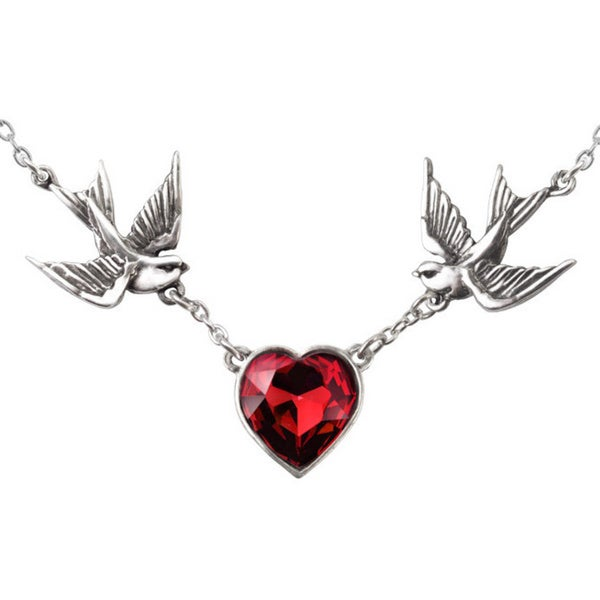 English Pewter with Crystalss Swallow Heart Necklace