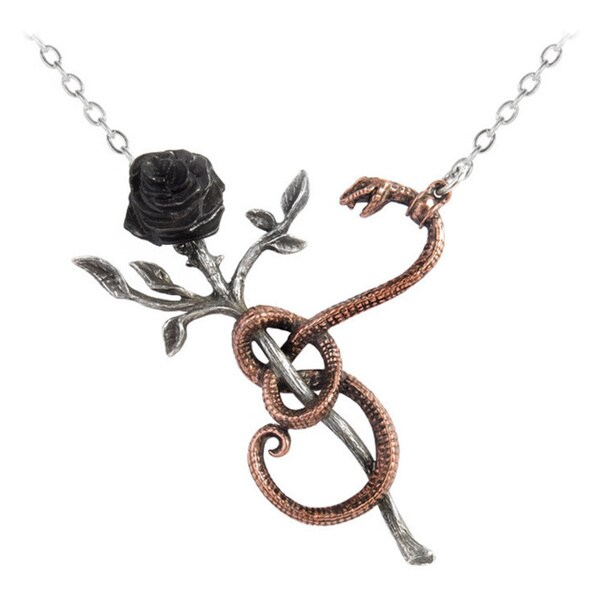 Two-tone English Pewter with Blackened Pewter a Rose For Eve Necklace